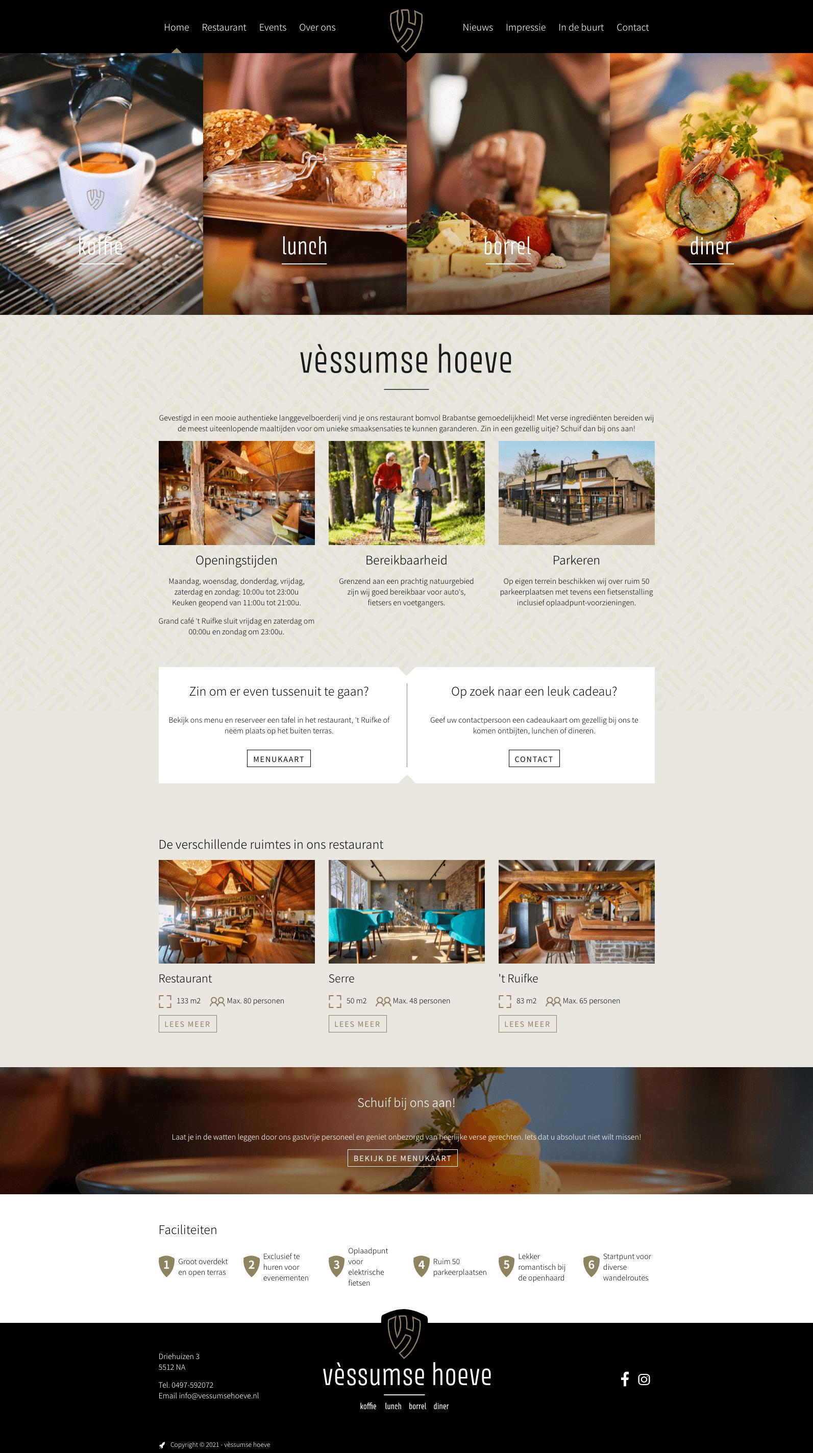 Website homepage Vèssumse Hoeve