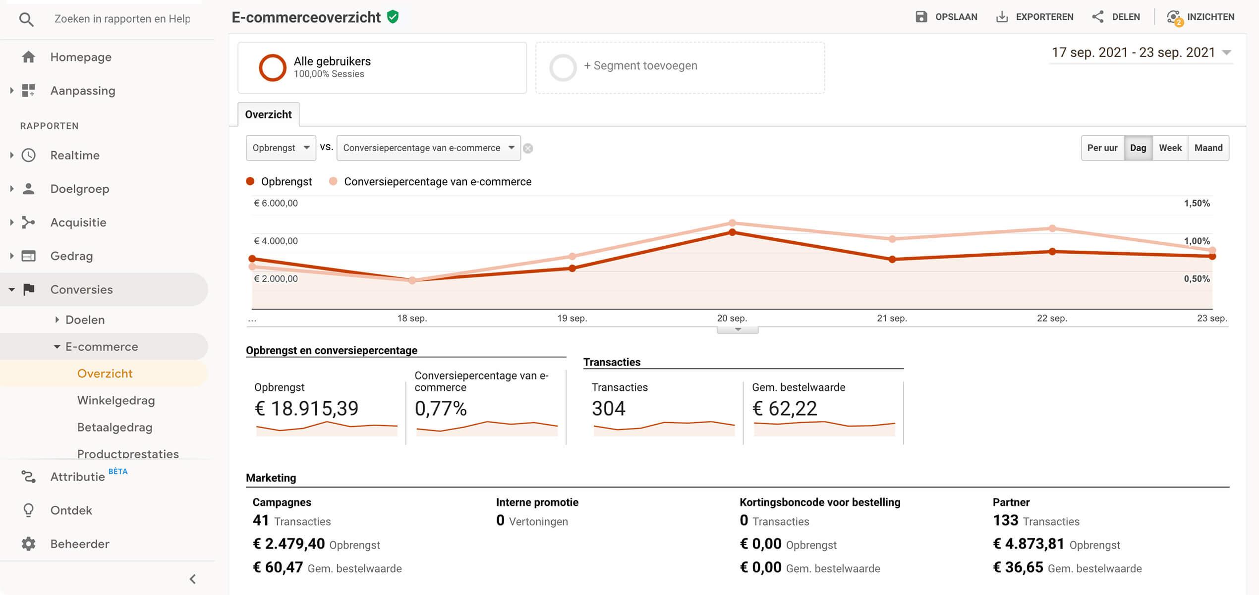 Google Analytics Webshop