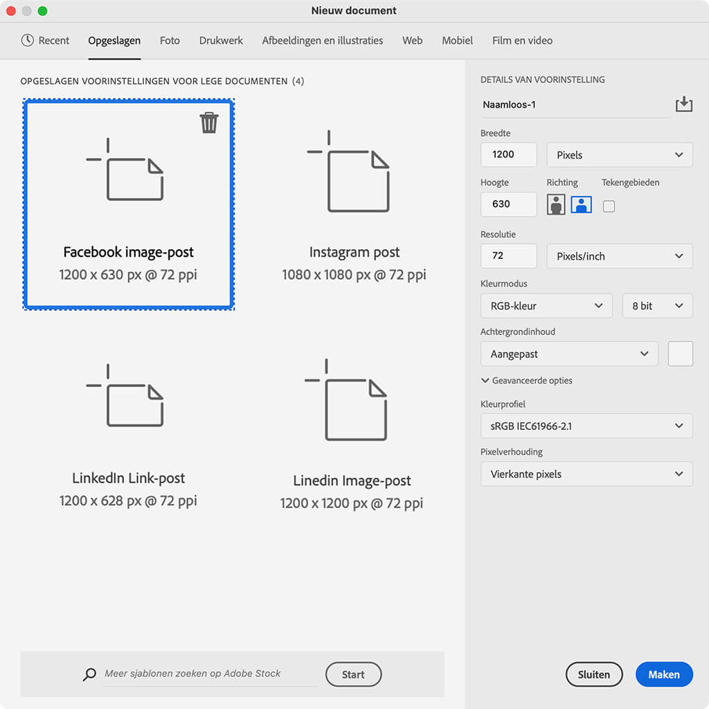 Spocial Media Post settings in Photoshop