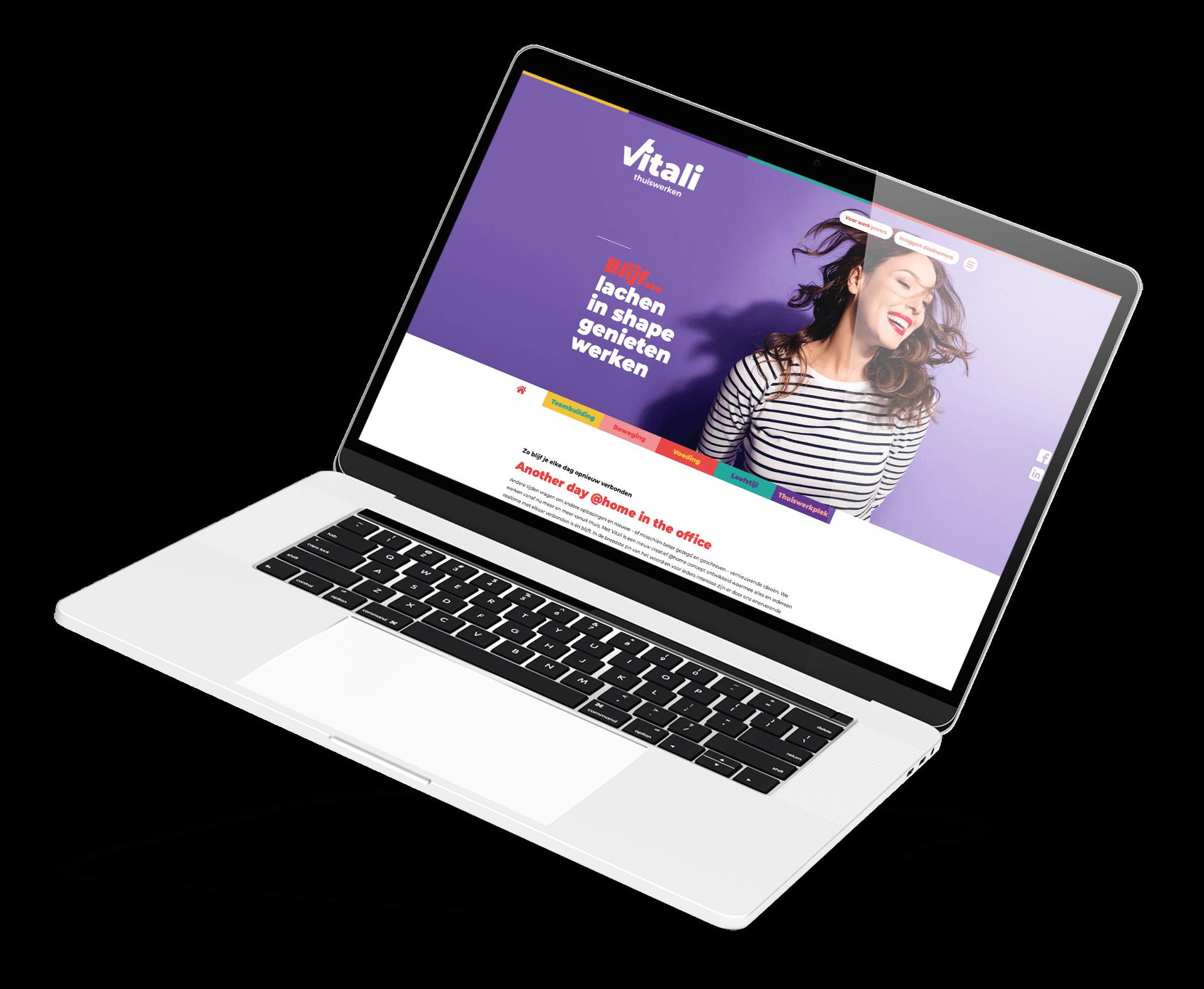 Website homepage Vitali thuiswerken op laptop