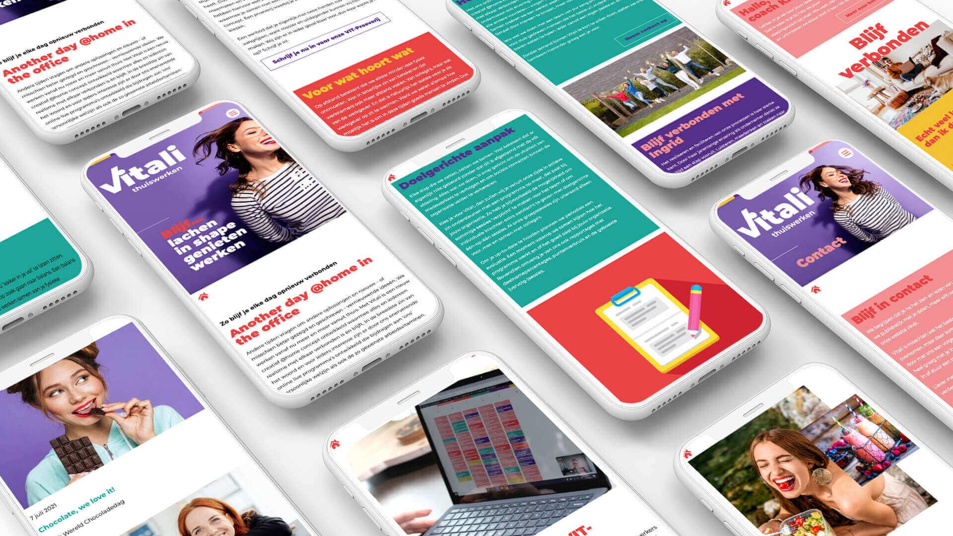 Collage Website Vitali thuiswerken op mobiel