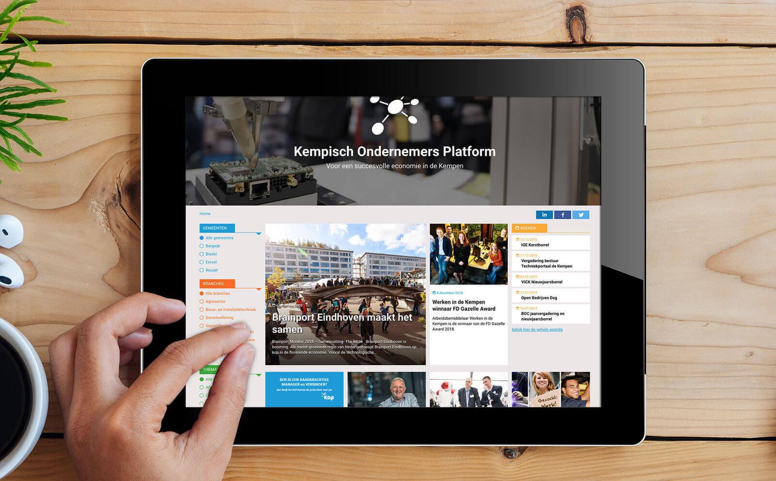 Het Kop website homepage op ipad