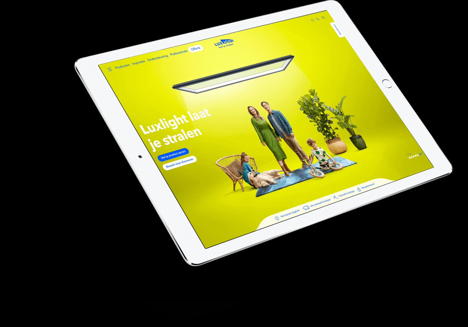 Website Luxlight op iPad
